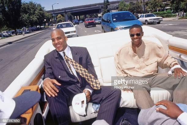 Corliss Williamson and Tyus Edney of the Sacramento Kings ride in a car circa 1996 at Arco Arena in Sacramento California NOTE TO USER User expressly...
