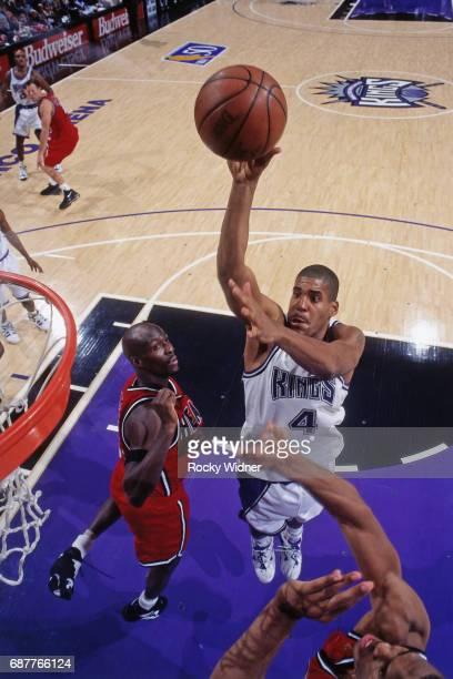 Corliss Williamson of the Sacramento Kings shoots against the Miami Heat circa 1996 at Arco Arena in Sacramento California NOTE TO USER User...