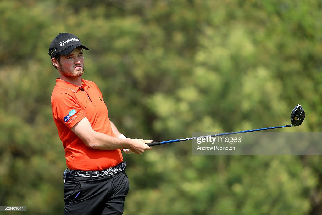 Cormac Sharvin of Northern Ireland hits his tee shot on the 3rd during the first round of the Trophee Hassan II at Royal Golf Dar Es Salam on May 5, 2016 in Rabat, Morocco.