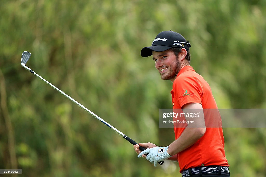 Cormac Sharvin of Northern Ireland prepares to hit his tee shot on the 2nd during the first round of the Trophee Hassan II at Royal Golf Dar Es Salam on May 5, 2016 in Rabat, Morocco.