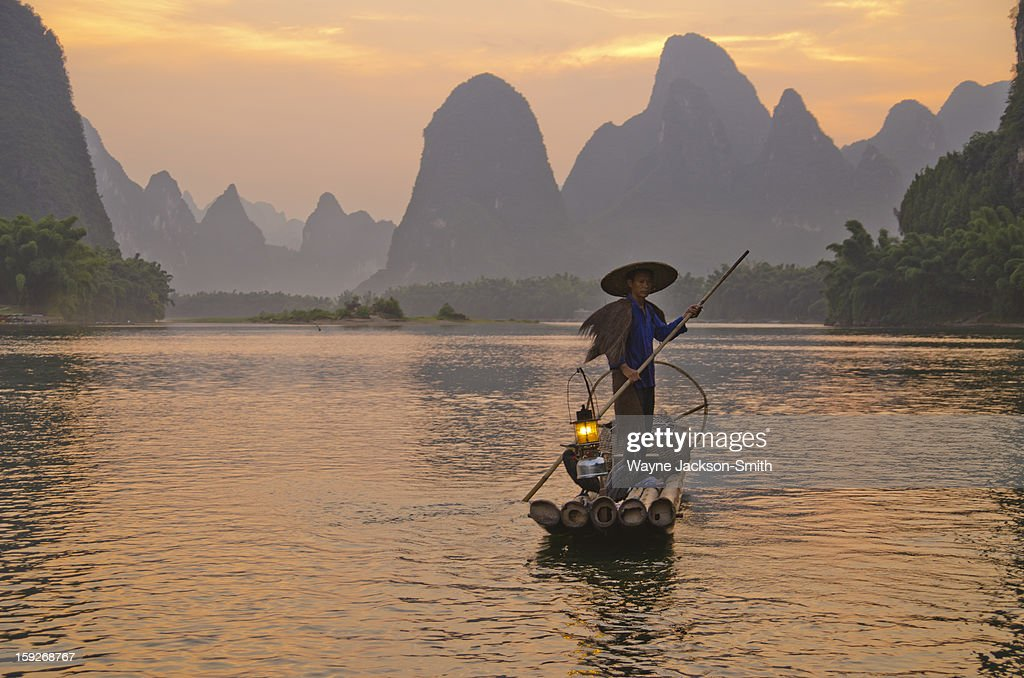 CONTENT] Cormorant fisherman on the Li river at sunset