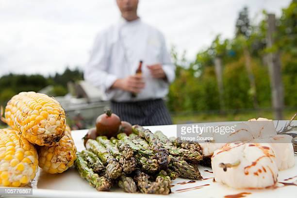 Corn, asparagus and scallops