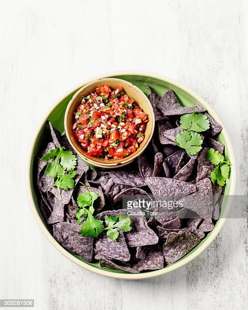 Corn chips with salsa and guacamole