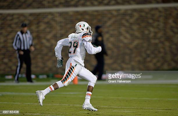 Corn Elder of the Miami Hurricanes breaks away for a touchdown during the final seconds of their game against the Duke Blue Devils at Wallace Wade...