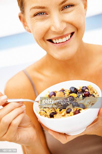 Corn flakes and berries for breakfast