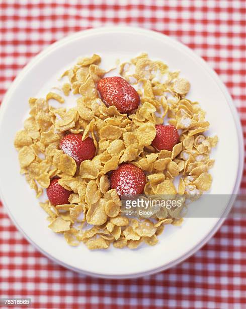 Corn Flakes on Red and White Background