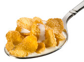 Corn flakes on spoon