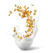 bowl of corn flakes with milk splash isolated on white
