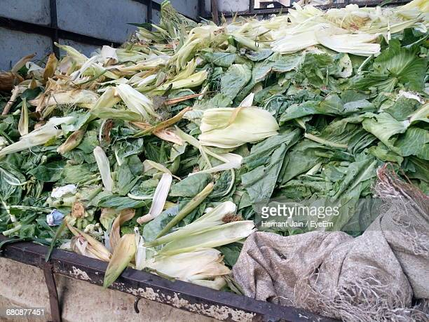 Corn Peels And Leafy Vegetables In Pick-Up Truck