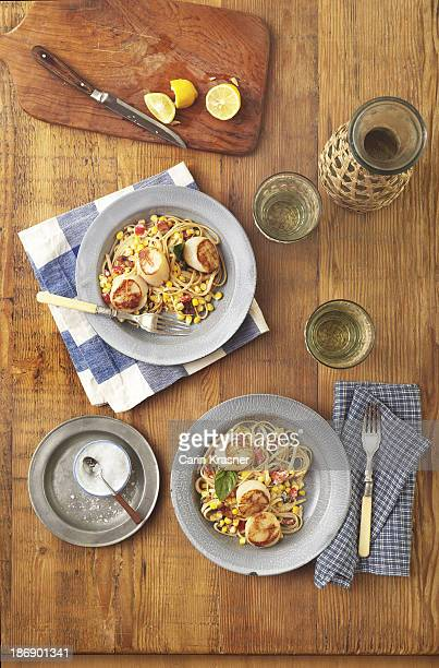 corn scallop pasta