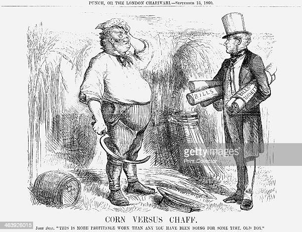 'Corn versus Chaff' 1860 John Bull represents the agricultural worker in the heat of the day working to gather the harvest so that the people may be...