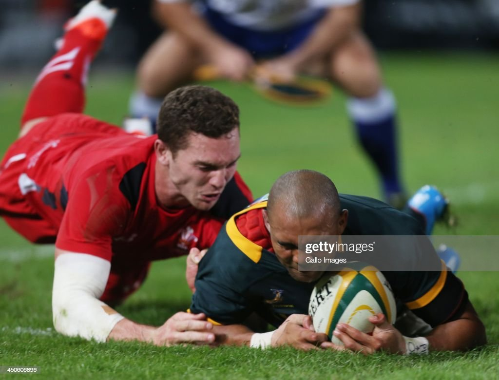 Cornal Hendricks of South Africa over for a try during the Incoming Tour match between South Africa and Wales at Growthpoint Kings Park on June 14, 2014 in Durban, South Africa.