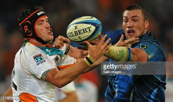 Corne Uys of the Cheetahs and Dean Greyling of the Bulls compete for the ball during the Super Rugby match between Vodacom Bulls and Toyota Cheetahs...
