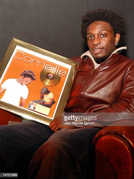 Corneille receives his first Gold Record for his album 'Parce qu'on Vient de Loin' at the New Casino in Paris France
