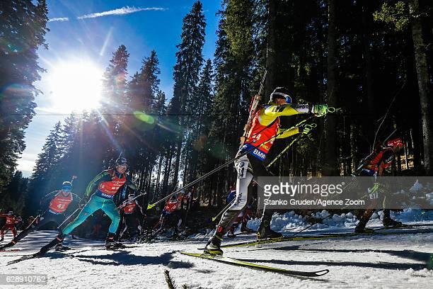 Cornel Puchianu of Rumania in action during the IBU Biathlon World Cup Men's and Women's Pursuit on December 10 2016 in Pokljuka Slovenia