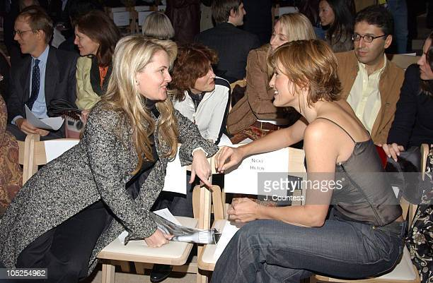 Cornelia Guest and Mariska Hargitay during Olympus Fashion Week Fall 2004 Badgley Mischka Front Row and Backstage at The Promenade at Bryant Park in...
