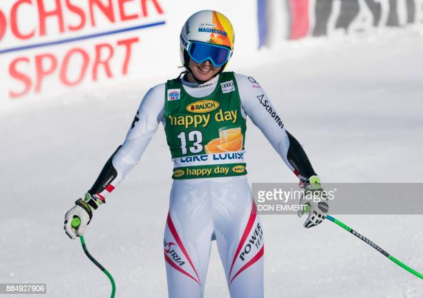 Cornelia Huetter of Austria reacts to her 8th place finish during the FIS Ski World Cup Women's Super G on December 3 2017 in Lake Louise Canada /...