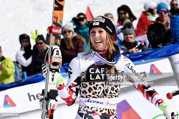 Cornelia Huetter of Austria takes 1st place during the Audi FIS Alpine Ski World Cup Women's SuperG on March 12 2016 in Lenzerheide Switzerland