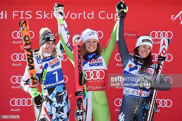 Cornelia Huetter of Austria takes 2nd place Ilka Stuhec of Slovenia takes 1st place Sofia Goggia of Italy takes 3rd place during the Audi FIS Alpine...