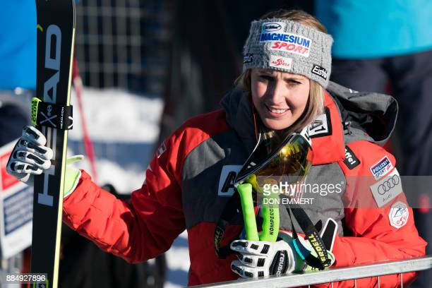 Cornelia Huetter of Austria talks with fans after her 8th place finish during the FIS Ski World Cup Women's Super G on December 3 2017 in Lake Louise...