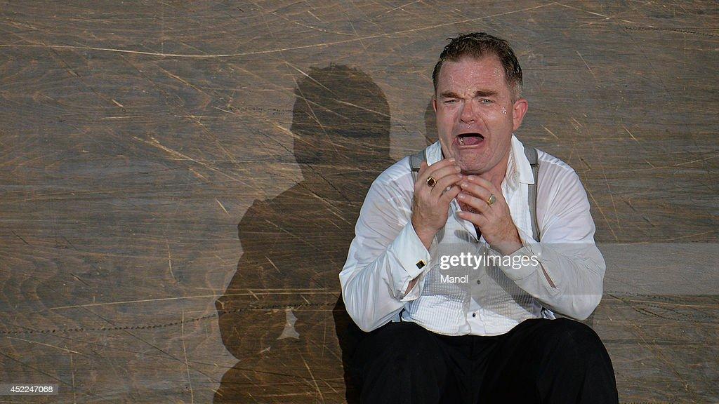 Cornelius Obonya (Everyman) is seen during the photo rehearsal of 'Jedermann' (Everyman) on the Domplatz ahead of Salzburg Festival 2014 on July 16, 2014 in Salzburg, Austria.