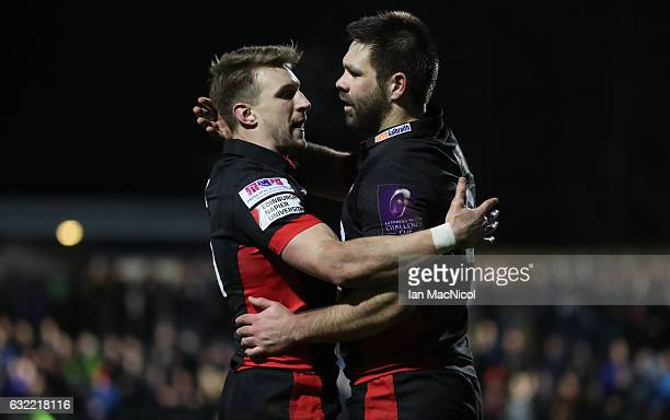 Cornell Du Preez of Edinburgh is congratulated by Tom Brown after he scores his teams second try during the European Rugby Challenge Cup match...