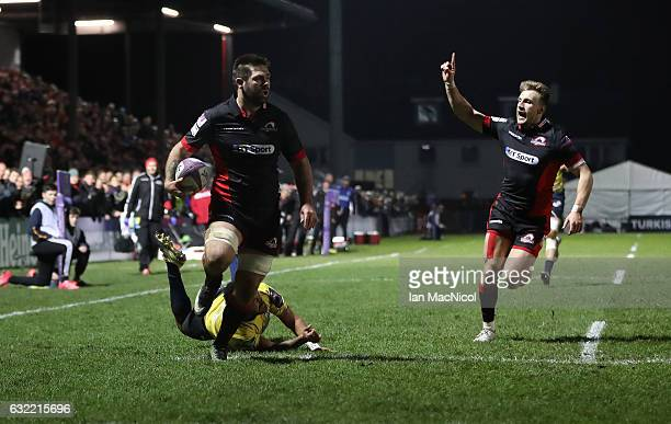 Cornell Du Preez of Edinburgh runs through to score his teams second try during the European Rugby Challenge Cup match between Edinburgh Rugby and...