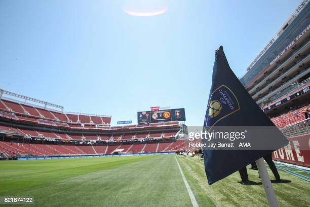 Corner flag at Levis Stadium during the International Champions Cup match between Paris SaintGermain and Tottenham Hotspur on July 22 2017 in Orlando...