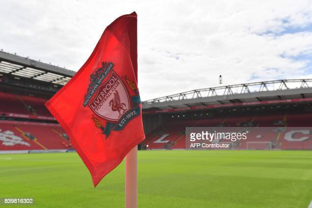 A corner flag displaying Liverpool's club crest is pictured in the sunshine ahead of the English Premier League football match between Liverpool and...
