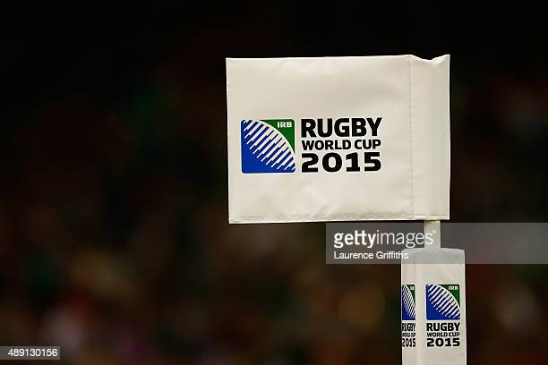 A corner flag during the 2015 Rugby World Cup Pool D match between Ireland and Canada at the Millennium Stadium on September 19 2015 in Cardiff...