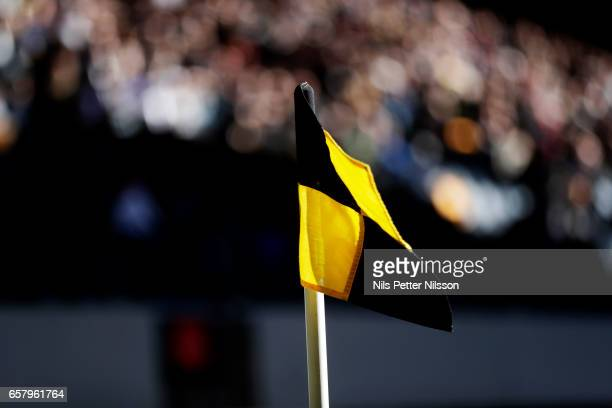 A corner flag during the preseason friendly match between AIK and IFK Norrkoping at Friends arena on March 26 2017 in Solna Sweden