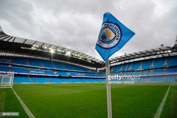 A corner flag is seen ahead of the English Premier League football match between Manchester City and West Bromwich Albion at the Etihad Stadium in...