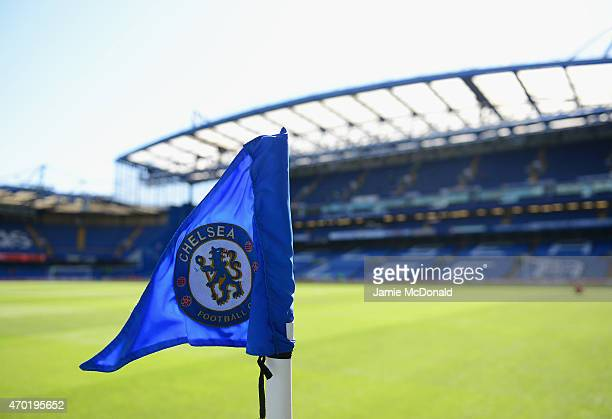 A corner flag is seen prior to the Barclays Premier League match between Chelsea and Manchester United at Stamford Bridge on April 18 2015 in London...
