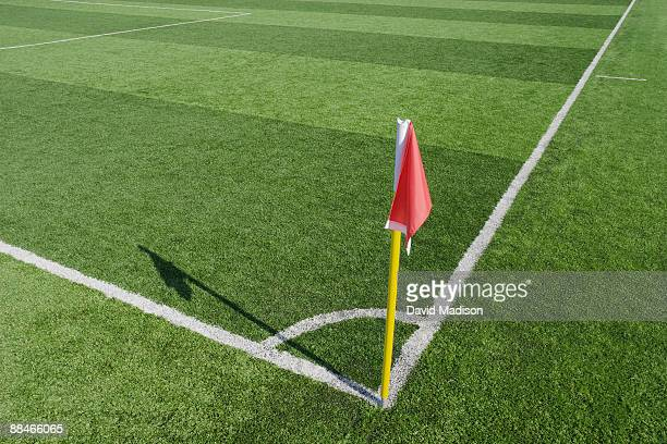 Corner flag on soccer field.