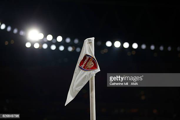A corner flag with the Arsenal club badge on it during the EFL Quarter Final Cup match between Arsenal and Southampton at Emirates Stadium on...