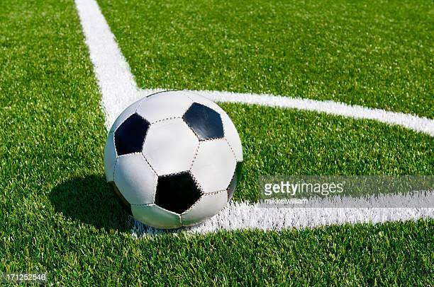 Corner kick on beautiful soccer field