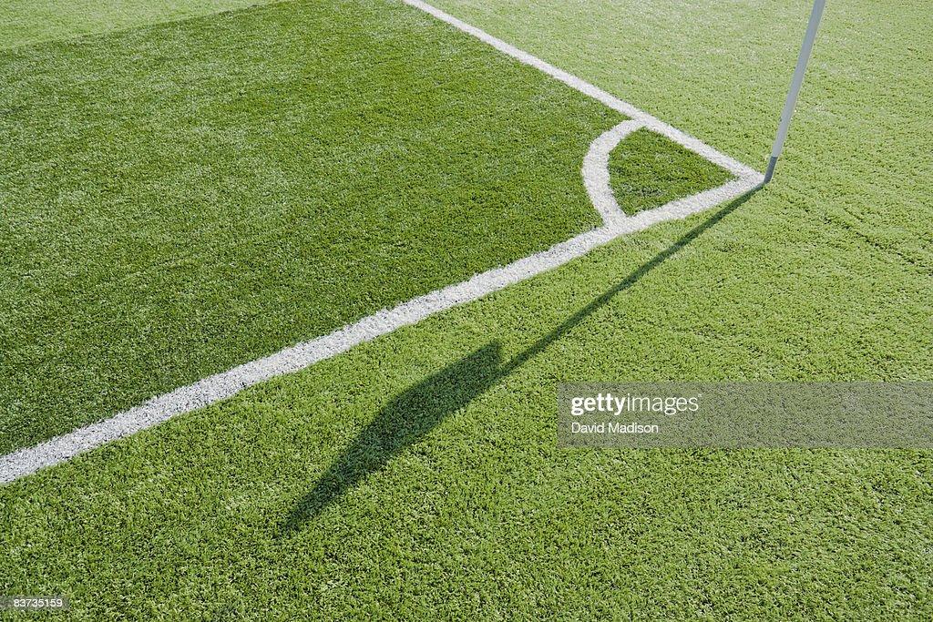Corner lines on soccer field : Stock Photo