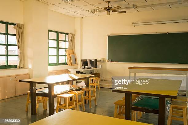 Corner of an art classroom in school