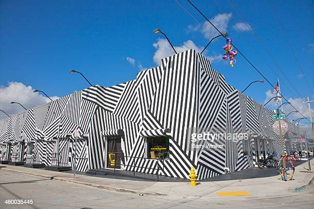 Corner of building wrapped in stripes
