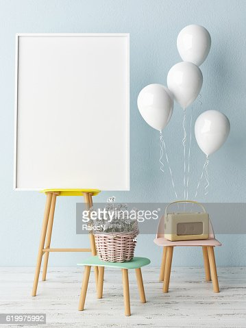 Corner of children room, Empty poster : Stock Photo