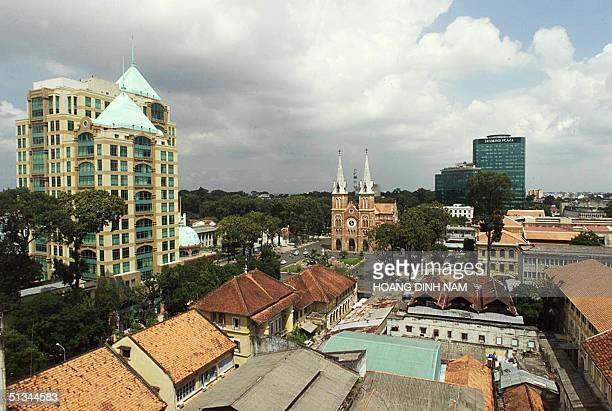 A corner of Ho Chi MinhCity with its cathedrale in centre is seen 18 April 2000 from the top of an old building where the last American helicopter...