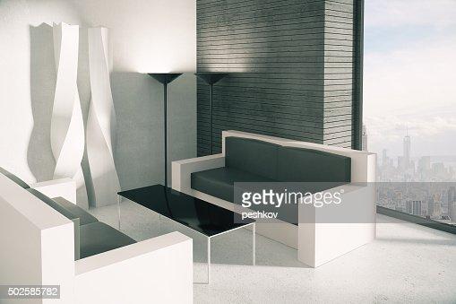 Büro einrichtungsideen modern  Corner Of Modern Loft Büro Einrichtung Und Blick Auf Die Stadt Stock ...