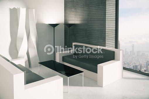 Corner Of Modern Loft Buro Einrichtung Und Blick Auf Die Stadt Stock