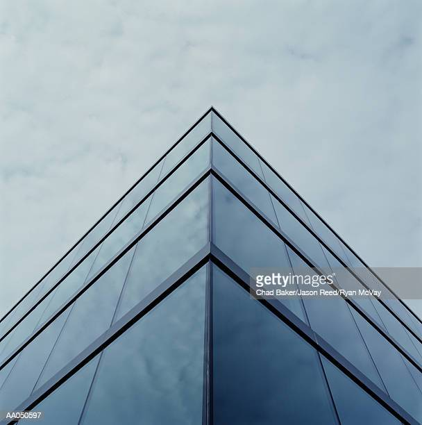 Corner of office building exterior, low angle view
