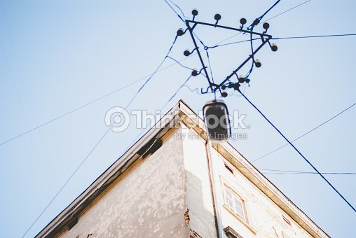 Prime Corner Of Old Abandoned House Black Wiring And Lamp Stock Photo Wiring Cloud Geisbieswglorg