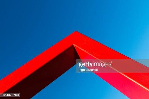 Corner of red metal frame