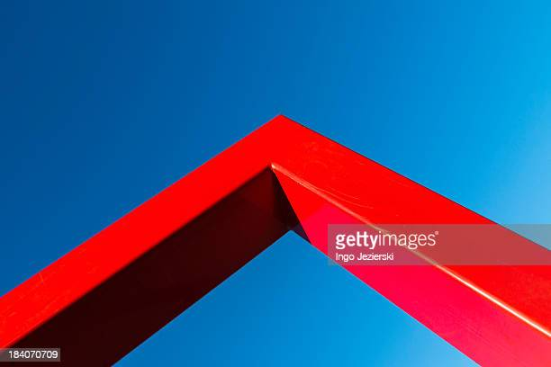Corner of red metal frame