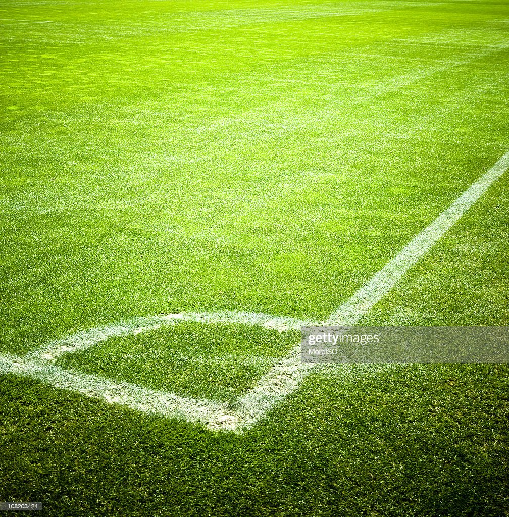 Corner of Soccer Field With Vivid Green Grass : Stock Photo