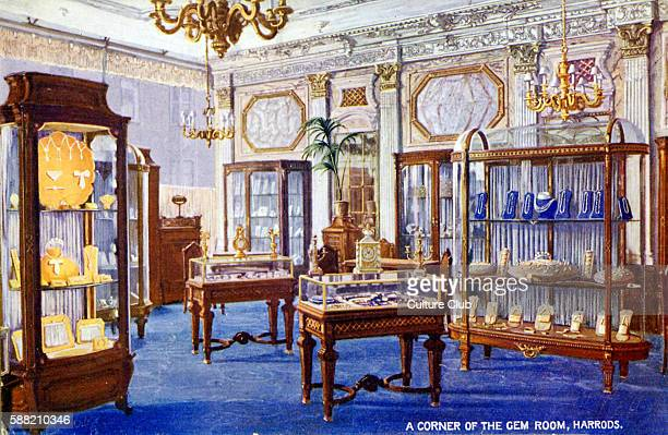 A corner of the Gem Room Harrods London department store based in Knightsbridge Caption on back reads Iti s a notable feature of the Harrod...