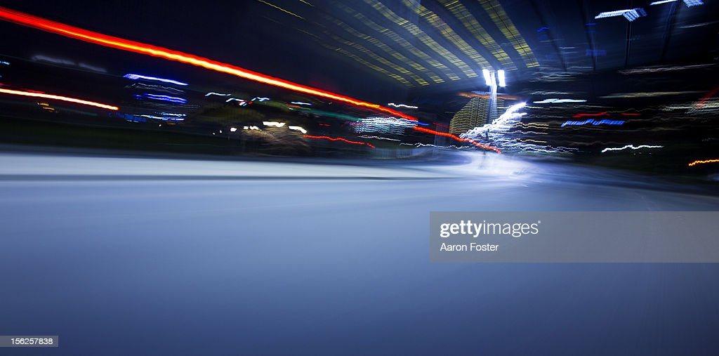 Corner on an inner city road at night : Stock Photo